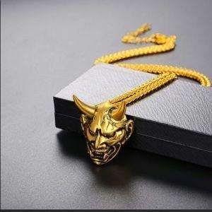 Other - New 18k gold Gothic Horn Evil Devil Demon necklace